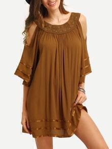 Brown Open Shoulder Lace Insert Shift Dress