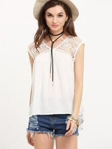 White Sleeveless Contrast Lace Chiffion Tank Top