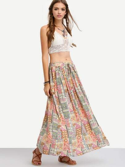 Multicolor Tribal Print Maxi Skirt