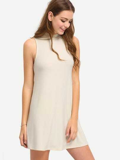 Beige Mock Neck Swing Dress