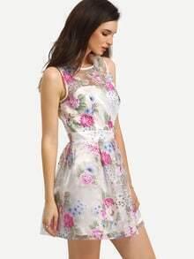 Multicolor Sleeveless Flower Print Backless Dress