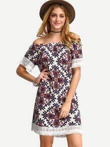 Multicolor Vintage Print Off The Shoulder Shift Dress