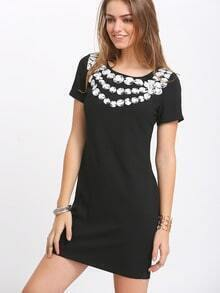 Black Short Sleeve Rhinestone Print Dress