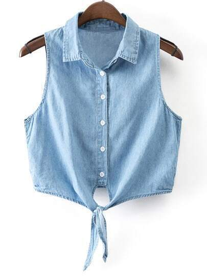 Blue Sleeveless Buttons Front Self-tie Bow Denim Blouse