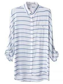 Blue White Stripe Keyhole Back Pocket Blouse