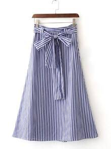 Blue White Stripe Zipper Side Tie-Waist Bow Long Skirt