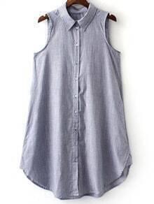 Multicolor Sleeveless Buttons Front Stripe Shirt Dress