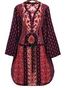 Multicolor Tie-Waist Bow Vintage Print Dress
