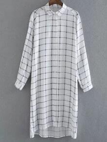 Multicolor Long Sleeve Buttons Front Plaids Shirt Dress