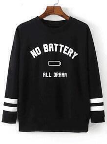 Black Letters Printed Pullover Sweatshirt