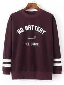 Burgundy Letters Print Pullover Sweatshirt
