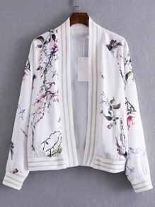 White Long Sleeve Cardigan Print Jacket