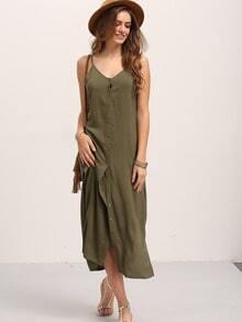 Army Green Sleeveless Bottons Split Side Dress