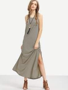 Black Striped Sleeveless Split Side Maxi Dress