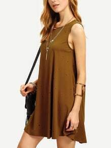 Dark Coffee Sleeveless Dip Hem Shift Dress