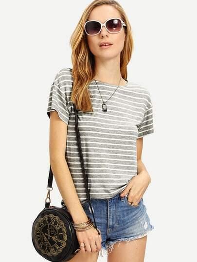 Grey White Striped Short Sleeve T-shirt