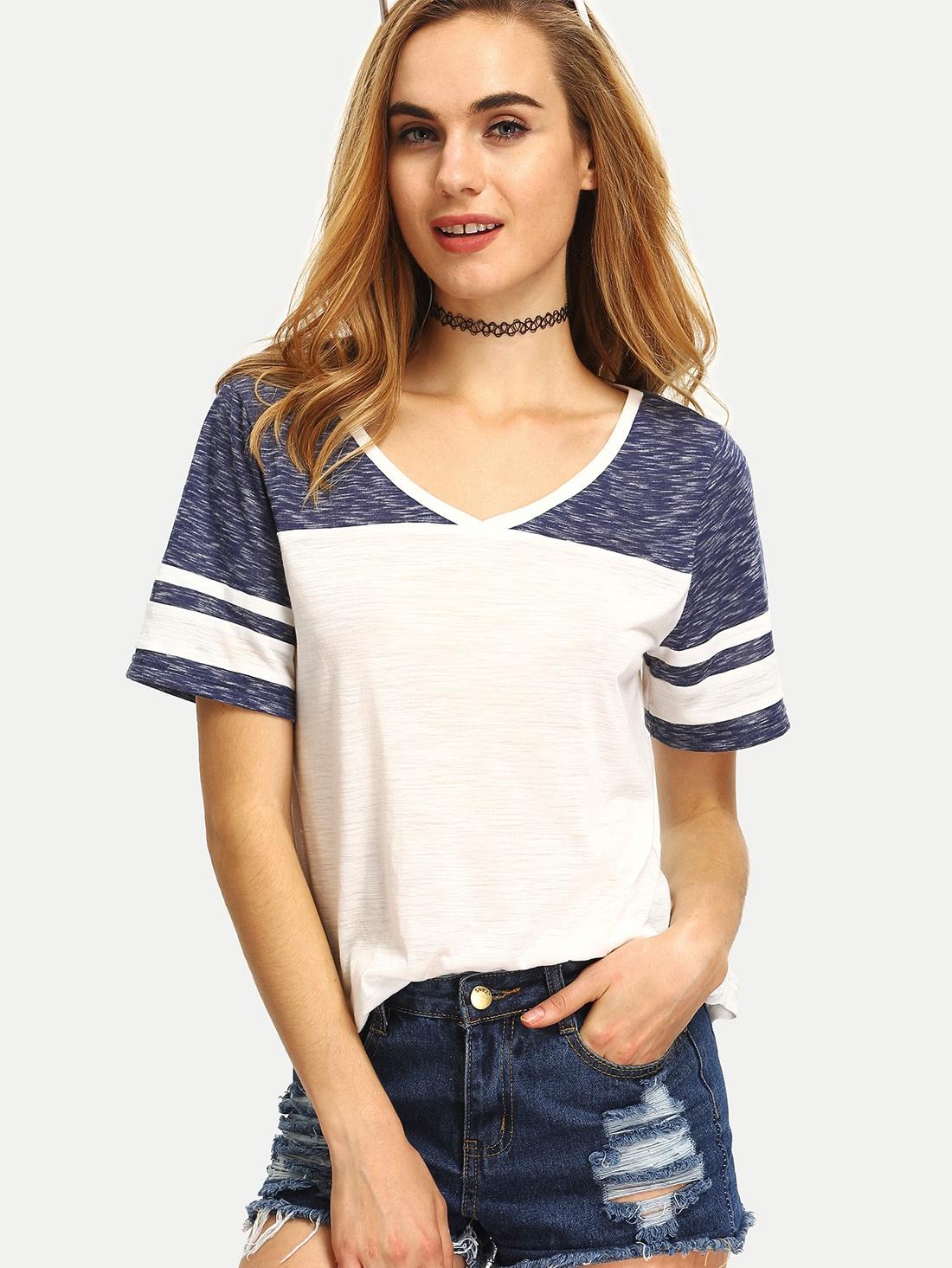Фото Multicolor Patchwork V Neck Short Sleeve T-shirt. Купить с доставкой