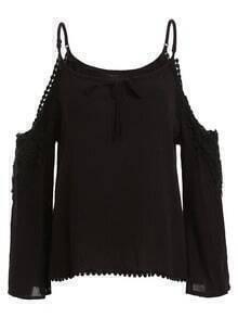 Black Cold Shoulder Lace Insert Pom Pom Shirt