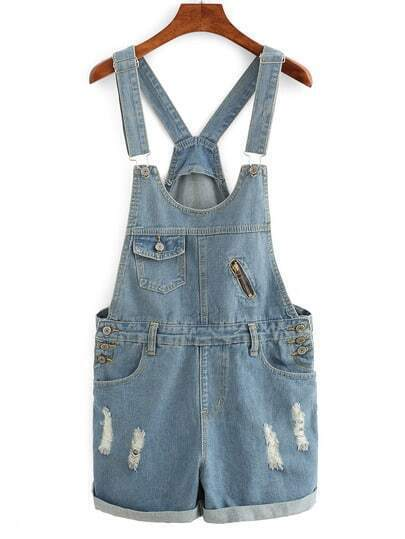 Rolled Hem Overall Denim Shorts