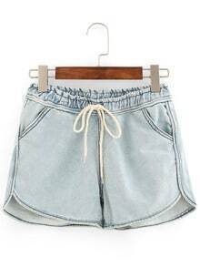 Drawstring Waist Light Blue Denim Shorts
