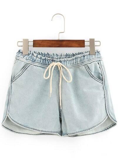 Drawstring Waist Light Blue Denim Shorts