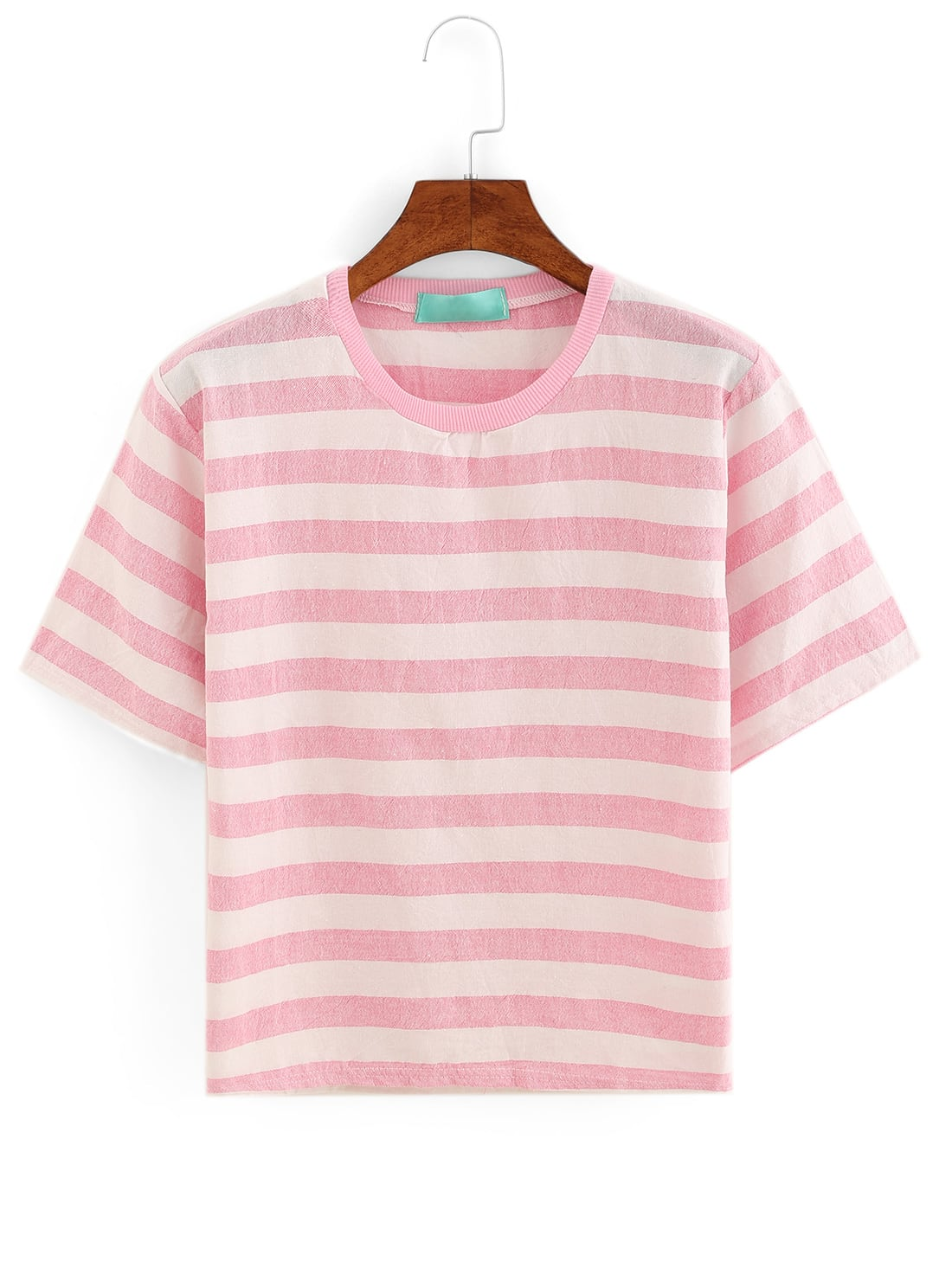 Pink Striped T Shirt Shein Sheinside