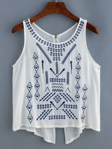 White Embroidered Zipper Split Tank Top