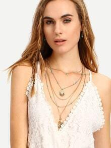Layered Geometric-Shaped Tassel Pendant Necklace