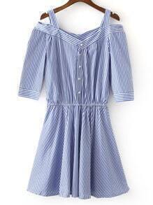 Blue White Stripe Elastic Waist Cold Shoulder Dress