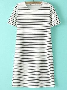 Black White Knee Length Short Sleeve Stripe Dress