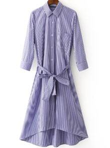 Blue White Stripe Buttons Front Tie-Waist Bow Shirt Dress