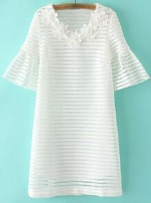 White Flowers V Neck Bell Sleeve Hollow Dress
