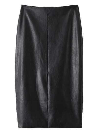 Black Split Front Zipper Back PU Pencil Skirt