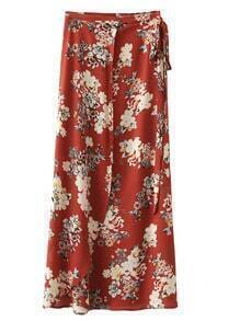 Multicolor Tie-Waist Bow Floral Print Long Skirt