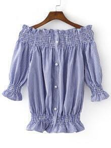 Blue White Stripe Buttons Front Boat Neck Blouse