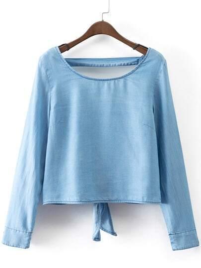 Blue Long Sleeve Self-tie Bow Backless Denim Blouse
