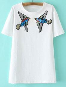 White Short Sleeve Birds Sequined Embroidery T-shirt