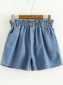 Light Blue Pockets Elastic Waist Denim Shorts