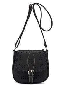 Laser-Cut Buckle Strap Saddle Bag - Black