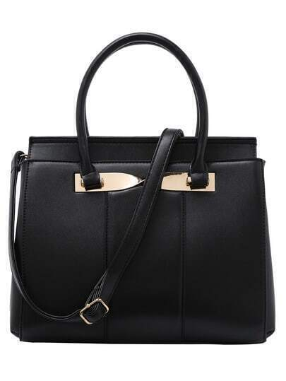 Twist Metal Plate Embellished Structured Tote Bag - Black