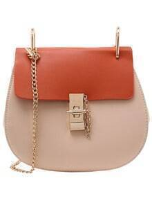 Contrast Faux Leather Chain Saddle Bag - Apricot