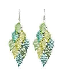 Green Long Drop Leaf Shape Earrings