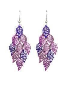 Purple Long Drop Leaf Shape Earrings