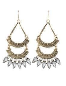 Gold Rhinestone Long Chandelier Earrings