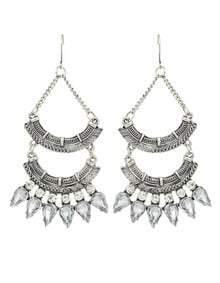 Silver Rhinestone Long Chandelier Earrings