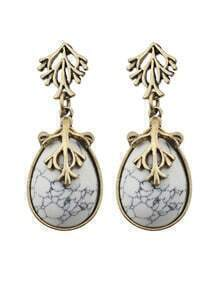 White Drop Turqoise Earrings