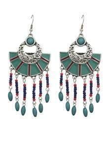 Blue Beads Big Chandelier Earrings