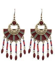 Red Beads Big Chandelier Earrings