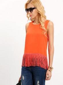 Orange Red Sleeveless Tassel T-shirt