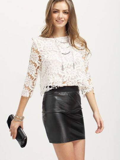 White Three Quarter Sleeve Lace Blouse